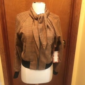 Forever 21 Brown Plaid Zip Up Bomber Jacket, M NWT
